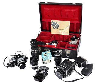 Bronica S2A and Nikon Cameras with Accessories
