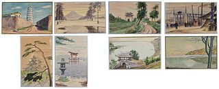 Group of Eight Hand Painted Japanese Postcards