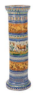 Italian Majolica Glazed Pedestal
