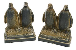 Pair of Rookwood Figural Penguin Pottery Bookends