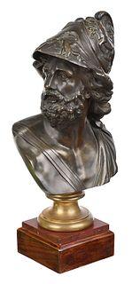 Continental Bronze Bust of Menelaus
