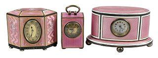 Three Silver and Guilloché Enamel Travel Clocks