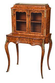 Louis XV Style Burlwood Ladies Desk and Bookcase