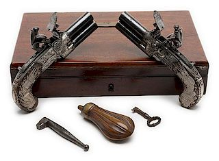 Cased Pair of Over/Under Tap Action Folding Trigger Flintlock Pistols by William Parker of London