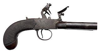 "Original Forth in York English Flintlock Four-Barrel ""Duck Foot"" Pistol with Iron Belt Hook"
