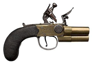 English Three-Barrel Tap Action Flintlock Pistol by Egg