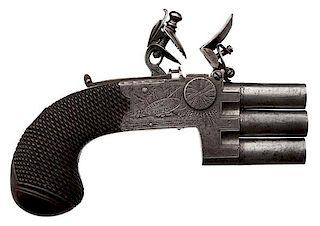English Best Quality Three-Stack Barrel Flintlock Pistol by Prosser