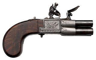 "English-Style Four-Barrel ""Selector"" Flintlock Pistol"