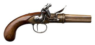 French Brass Four-Barrel Flintlock Pistol