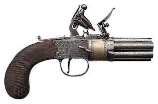 Large English Seven-Barrel Engraved Flintlock Pistol by H. Nock