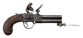 English Four-Barrel Flintlock Pistol with Spring Bayonet by Twigg