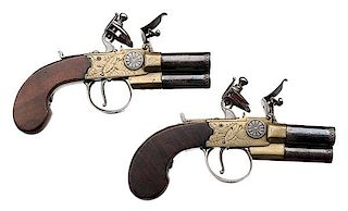 Pair of English Three-Barrel Flintlock Tap Action Pistols by Smith