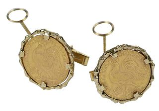 Gold French Coin Cufflinks