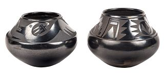 Two Marie and Santana Blackware Pots