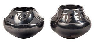 Two Marie and Santana Blackware Pots