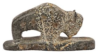 Carved Stone Buffalo Effigy FIgure