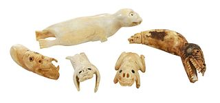 Five Greenland Inuit Walrus Ivory Tupilaks