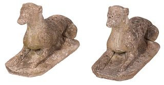 Pair of Cast Stone Greyhound Figures