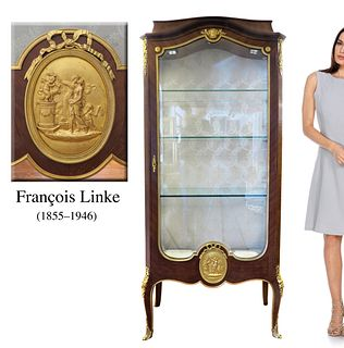19th C LOUIS XVI-STYLE BRONZE VITRINE BY FRANCOIS LINKE