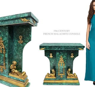19th C. French Figural Bronze Malachite Console