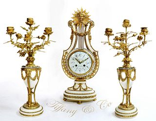 Tiffany & Co. Bronze & Marble Clock Set