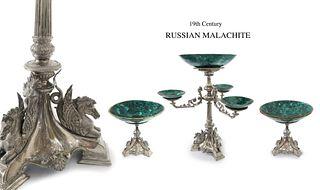 19th C. Malachite Figural Silver Plated Centerpiece Set