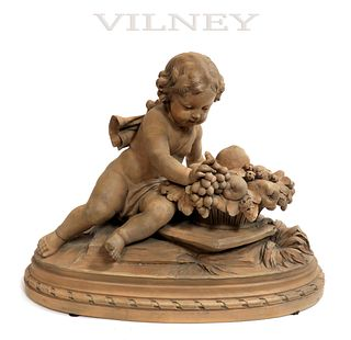 """19th C. FRENCH """"VILNEY"""" TERRACOTTA FIGURE OF A PUTTO"""