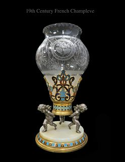 A French Champleve Figural Vase, 19th C.