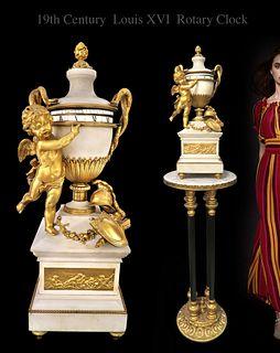 19TH C. LOUIS XVI GILT BRONZE & MARBLE ROTARY CLOCK