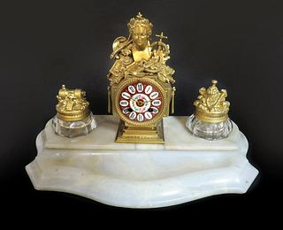 Magnificent Figural Bronze & Baccarat Clock Inkwell