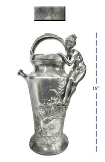 LARGE FRENCH FIGURAL SILVER-PLATE VASE BY JULES JOUANT