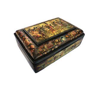 Large 19th C. Persian Qajar Papier Mache Box