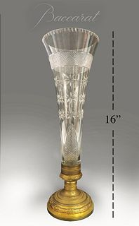 19th C. French Baccarat Crystal & Bronze Vase