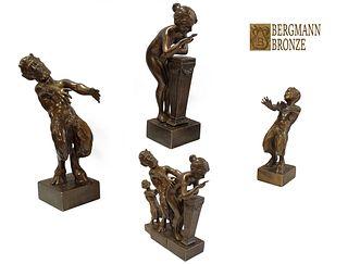 Temptation, Franz Bergman Signed Bronze Figurine Group