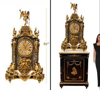 A French Bronze Tortoiseshell Boulle Mantel Clock