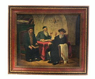 Signed Judaica Rabbi Painting