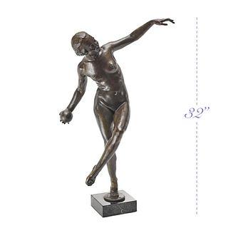 DANSEUSE A LA BOULE, A Lucien Alliot Bronze Sculpture