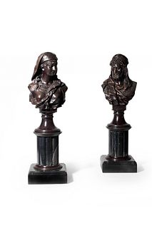 A Pair of Orientalist Patinated Bronze Marble Busts