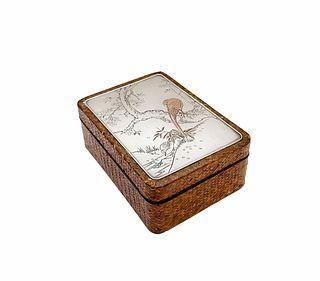 Japanese Silver & Mix Metal Woven Cane Trinket Box