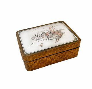 Meiji Period Japanese Silver & Mix Metal Trinket Box