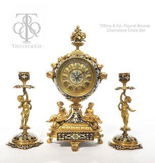 Tiffany & Co. Gilt Bronze & Champleve Enamel Clock Set