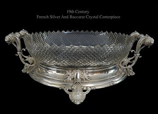 19th C. French Silver & Baccarat Crystal Centerpiece