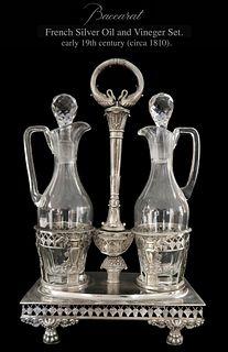 19th C. French Silver Vinegar & Oil Cruet Set