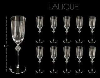 Lalique Roxane Crystal Champagne Flute, Set of 10