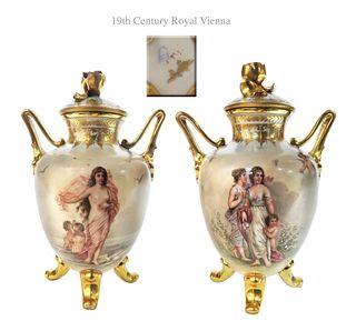 Superior 19th C. Pair of Royal Vienna Porcelain Vases