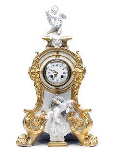 19th C. French Figural Porcelain & Gilt Mantel Clock
