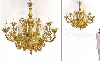 A Rare Large Figural gilt bronze Empire Chandelier