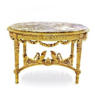 A LOUIS XVI FIGURAL GILTWOOD AND MARBLE-TOP TABLE