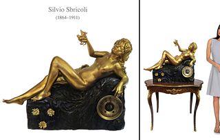 A Large Art Nouveau French Orientalist Bronze Clock