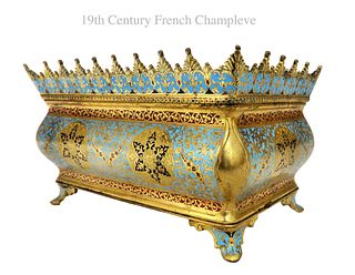 19TH C. FRENCH BRONZE & CHAMPLEVE ENAMEL CENTERPIECE